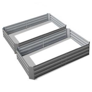 GARDEN ALUMGR FC2 00 1 300x300 - Greenfingers 2x Galvanised Steel Raised Garden Bed Instant Planter AlumGrey 150cmx90cm