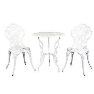 GB CALU 3PC XG1015 WH 00 300x300 - Gardeon Outdoor Furniture Chairs Table 3pc Aluminium Bistro White