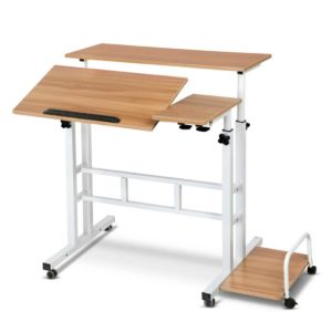 LA DESK SD LW 00 300x300 - Mobile Twin Laptop Desk - Light Wood