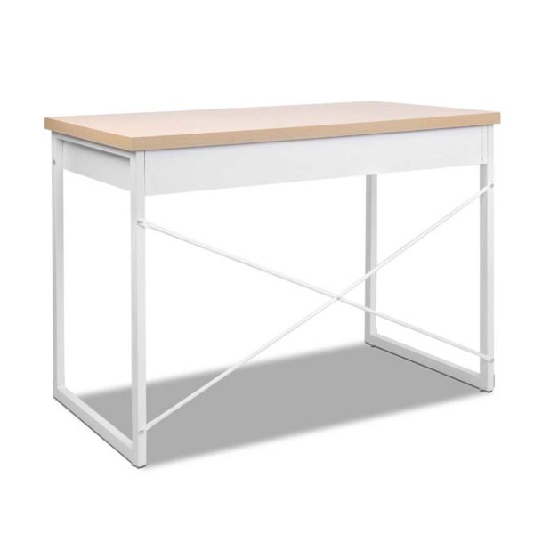 MET DESK 118 OA 00 600x600 - Artiss Metal Desk with Drawer - White with Wooden Top