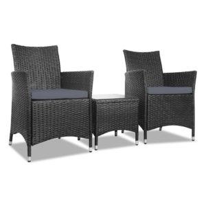 odf bistro rattan bk 00 300x300 - Gardeon 3 Piece Wicker Outdoor Furniture Set - Black