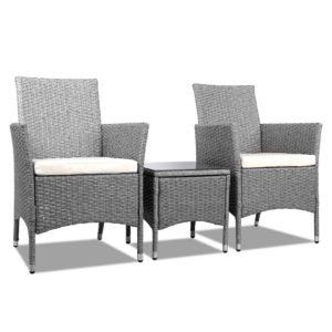 odf bistro rattan ge 00 1 300x300 - 3 Piece Wicker Outdoor Chair Side Table Furniture Set - Grey