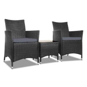 ODF BISTRO RATTAN S BK 00 300x300 - Gardeon 3pc Rattan Bistro Wicker Outdoor Furniture Set Black