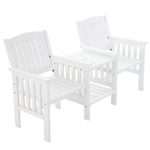ODF LOVESEAT WH 00 300x300 - Gardeon Garden Bench Chair Table Loveseat Wooden Outdoor Furniture Patio Park White