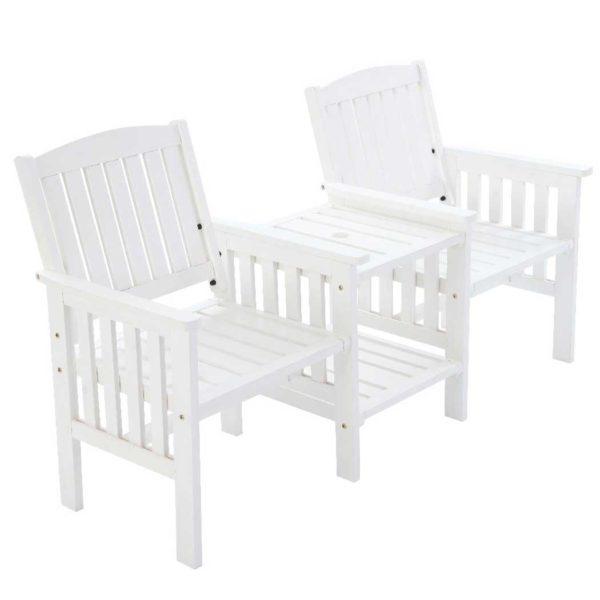 ODF LOVESEAT WH 00 600x600 - Gardeon Garden Bench Chair Table Loveseat Wooden Outdoor Furniture Patio Park White