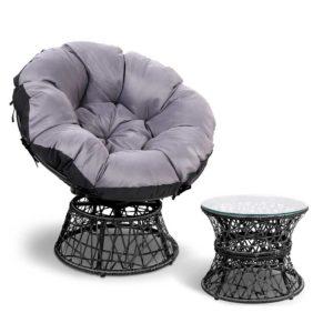 odf papasan chtb bk 00 300x300 - Gardeon Papasan Chair and Side Table - Black