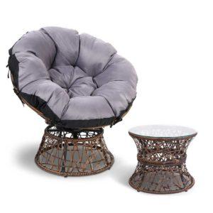 odf papasan chtb br 00 300x300 - Gardeon Papasan Chair and Side Table - Brown