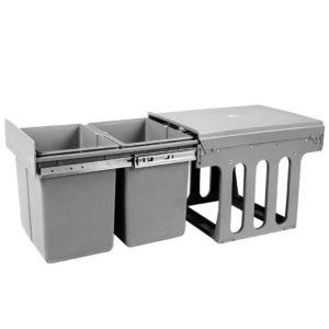 pot bin 15l set 00 300x300 - Set of 2 15L Twin Pull Out Bins - Grey