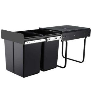 POT BIN 20L SET BK 00 300x300 - Set of 2 20L Twin Pull Out Bins Kitchen Slide Out Rubbish Waste Basket Black