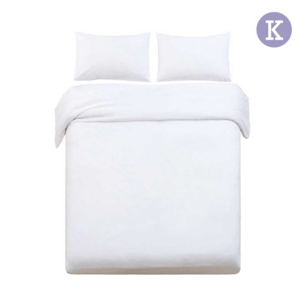 QCS MF WH K 00 600x600 - Giselle Bedding King Size Classic Quilt Cover Set - White