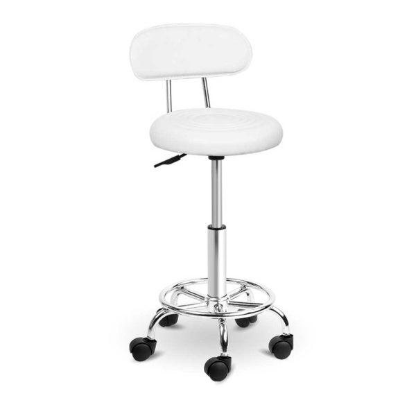 SALON 4128 WH 00 600x600 - Artiss PU Leather Swivel Salon Stool - White