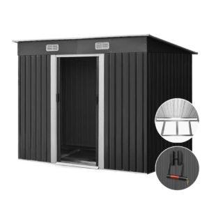 shed flat 4x8 base abc 00 300x300 - Giantz 2.38 x 1.31m Steel Base Garden Shed - Grey