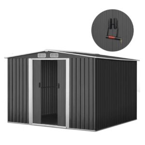 shed gab 8x8 abcd 00 300x300 - Giantz 2.57 x 2.57m Steel Base Garden Shed - Grey