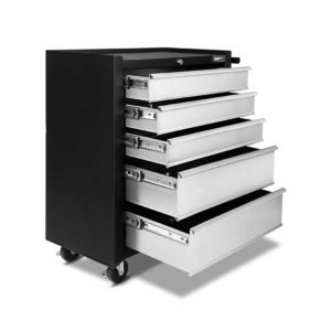 tb 5dr roll bkgy 00 300x300 - Giantz 5 Drawer Mechanic Tool Box Storage Trolley - Black & Grey