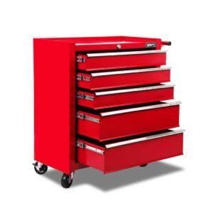tb 5dr roll red 00 300x300 - Giantz 5 Drawer Mechanic Tool Box Storage Trolley - Red