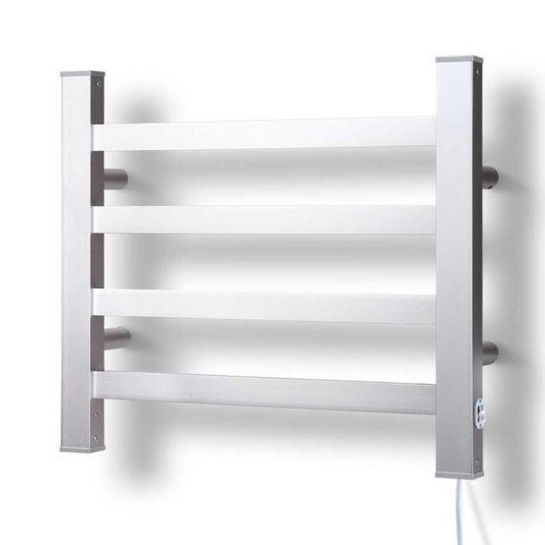 TW D S4 ALUM 00 600x600 - DEVANTI Electric Heated Ladder Towel Rails Bathroom Dryer Clothes Warmer 4 Racks Square Bars Rungs