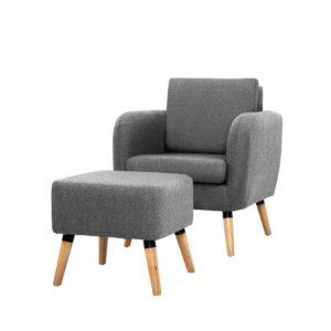 UPHO C SOHO OTM GY 00 300x300 - Artiss Lounge Chair Armchair with Ottoman Tub Accent Sofa Linen Fabric Grey