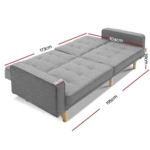 SBED E LIN3138 LI GY ABC 01 300x300 - Artiss 1950mm 3 Seater Sofa Bed Recliner Lounge Chair Tufted Plush Fabric Grey