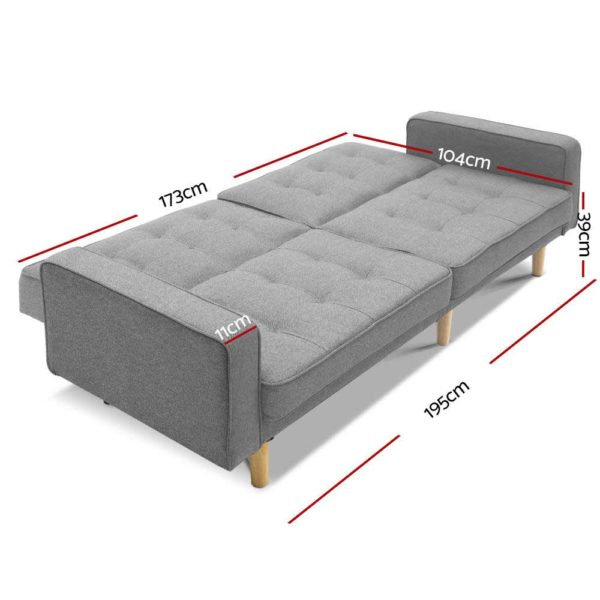 SBED E LIN3138 LI GY ABC 01 600x600 - Artiss 1950mm 3 Seater Sofa Bed Recliner Lounge Chair Tufted Plush Fabric Grey