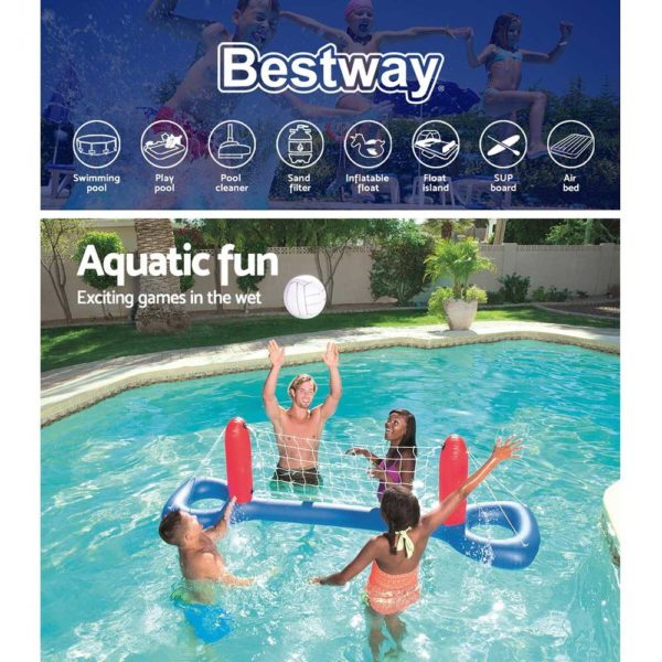 BW GAME 52133 03 600x600 - Bestway Inflatable Pool Volleyball Set & Ball Floating Swimming Pool Game Toy
