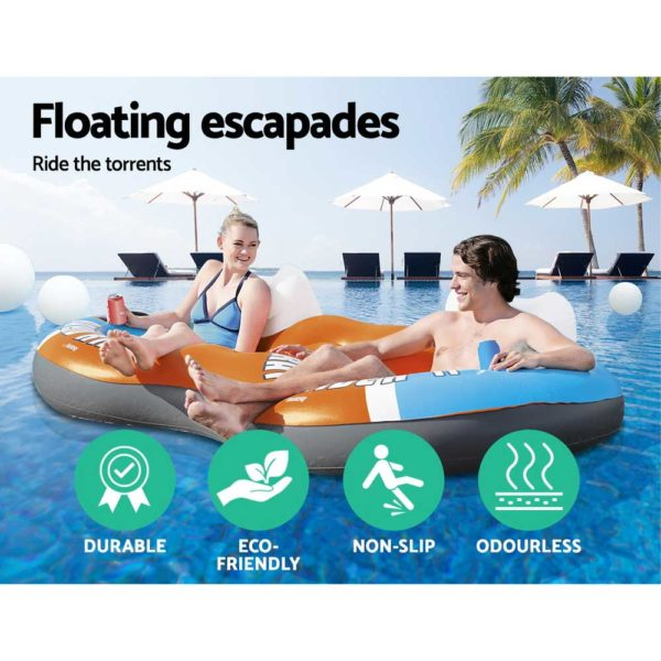 BW FLOAT 43113 TO 04 600x600 - Bestway River Run 2 Inflatable Tube River Lake Pool Lounge Float Cooler Twin