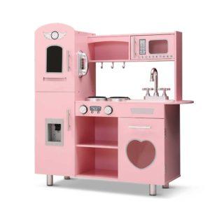 PLAY WOOD DISPENSER PK 00 300x300 - Keezi Kids Kitchen Set Pretend Play Food Sets Childrens Utensils Wooden Toy Pink