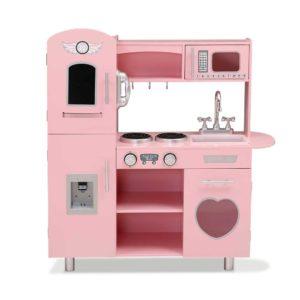 PLAY WOOD DISPENSER PK 02 300x300 - Keezi Kids Kitchen Set Pretend Play Food Sets Childrens Utensils Wooden Toy Pink