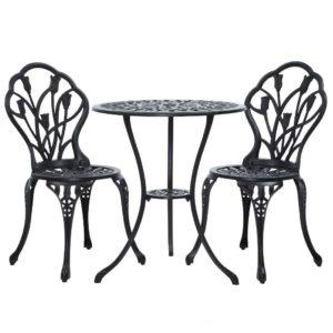 GB CALU 3PC XG1018 BK 00 300x300 - Gardeon 3PC Outdoor Setting Cast Aluminium Bistro Table Chair Patio Black