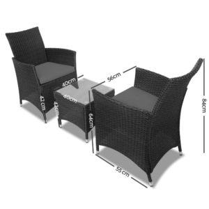 odf bistro rattan bk 01 1 300x300 - Gardeon 3 Piece Wicker Outdoor Furniture Set - Black