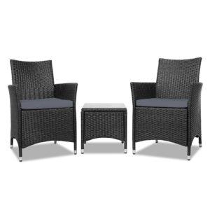 odf bistro rattan bk 02 300x300 - Gardeon 3 Piece Wicker Outdoor Furniture Set - Black