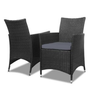 odf bistro rattan bk 03 300x300 - Gardeon 3 Piece Wicker Outdoor Furniture Set - Black