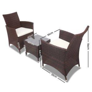 odf bistro rattan br 01 300x300 - Gardeon 3 Piece Wicker Outdoor Furniture Set - Brown