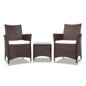 odf bistro rattan br 02 300x300 - Gardeon 3 Piece Wicker Outdoor Furniture Set - Brown