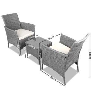 odf bistro rattan ge 01 1 300x300 - 3 Piece Wicker Outdoor Chair Side Table Furniture Set - Grey