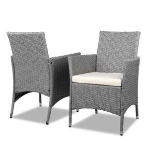 odf bistro rattan ge 04 1 300x300 - 3 Piece Wicker Outdoor Chair Side Table Furniture Set - Grey