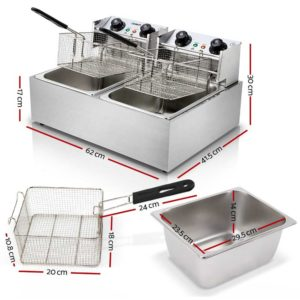 CDF D4C DOUBLE 01 300x300 - 5 Star Chef Commercial Electric Twin Deep Fryer - Silver