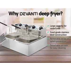 CDF D4C DOUBLE 03 300x300 - 5 Star Chef Commercial Electric Twin Deep Fryer - Silver