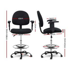 OCHAIR G RING 07A BK 01 1 300x300 - Artiss Office Chair Veer Drafting Stool Fabric Chairs Adjustable Armrest Black