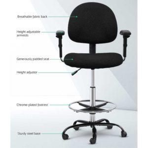 OCHAIR G RING 07A BK 02 1 300x300 - Artiss Office Chair Veer Drafting Stool Fabric Chairs Adjustable Armrest Black