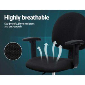 OCHAIR G RING 07A BK 03 1 300x300 - Artiss Office Chair Veer Drafting Stool Fabric Chairs Adjustable Armrest Black
