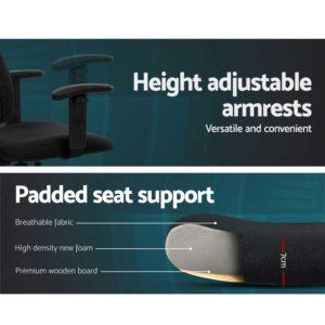 OCHAIR G RING 07A BK 04 1 300x300 - Artiss Office Chair Veer Drafting Stool Fabric Chairs Adjustable Armrest Black