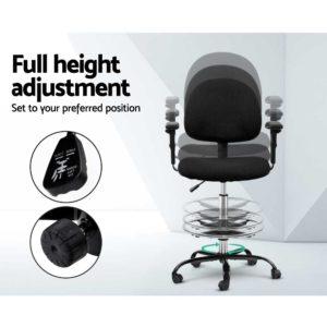 OCHAIR G RING 07A BK 05 1 300x300 - Artiss Office Chair Veer Drafting Stool Fabric Chairs Adjustable Armrest Black