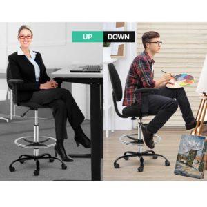 OCHAIR G RING 07A BK 06 1 300x300 - Artiss Office Chair Veer Drafting Stool Fabric Chairs Adjustable Armrest Black