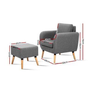 UPHO C SOHO OTM GY 01 300x300 - Artiss Lounge Chair Armchair with Ottoman Tub Accent Sofa Linen Fabric Grey