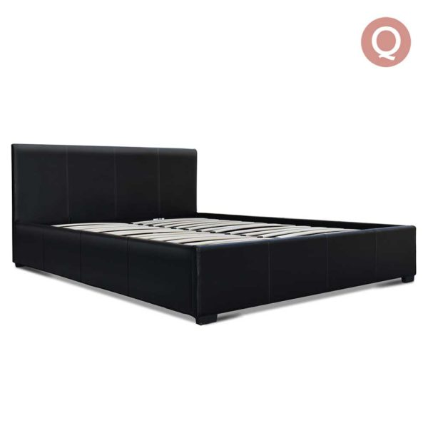 BFRAME E NINO Q BK AB 00 600x600 - Artiss Queen Size PU Leather and Wood Bed Frame Headborad - Black
