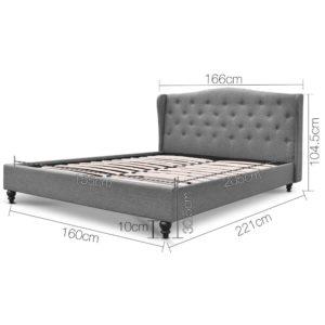 BFRAME E PIER Q GY AB 01 300x300 - Artiss Queen Size Wooden Upholstered Bed Frame Headborad - Grey