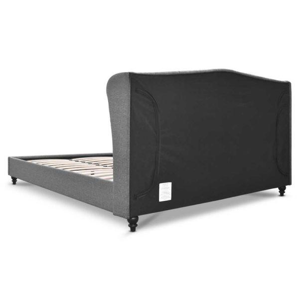 BFRAME E PIER Q GY AB 04 600x600 - Artiss Queen Size Wooden Upholstered Bed Frame Headborad - Grey