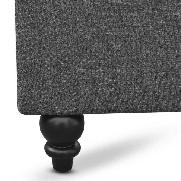 BFRAME E PIER Q GY AB 07 600x600 - Artiss Queen Size Wooden Upholstered Bed Frame Headborad - Grey