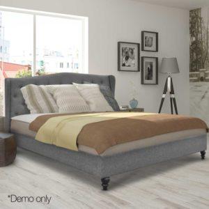 BFRAME E PIER Q GY AB 10 300x300 - Artiss Queen Size Wooden Upholstered Bed Frame Headborad - Grey