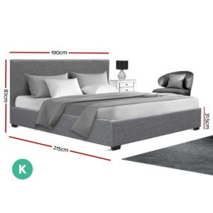 BFRAME E NINO K GY AB 01 300x300 - Artiss King Size Gas Lift Bed Frame Base With Storage Mattress Grey Fabric NINO